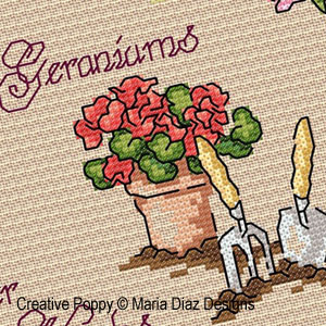 <b>La jardinière</b><br>grille point de croix<br>création <b>Maria Diaz</b>