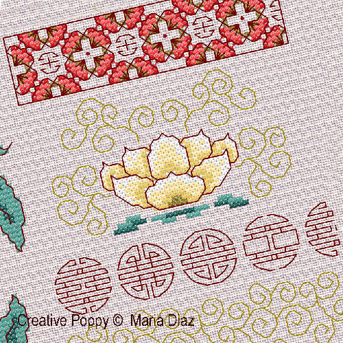 Motifs Floraux orientaux broderie point de croix, création Maria Diaz, zoom2