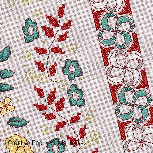 Motifs Floraux orientaux broderie point de croix, création Maria Diaz, zoom3