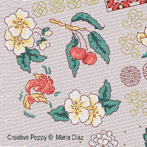 Maria Diaz - Motifs floraux orientaux (grille de broderie point de croix)