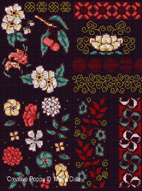 Motifs Floraux orientaux, grille de broderie, création Maria Diaz