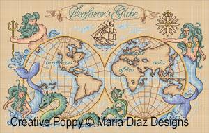 Carte nautique (Globe terrestre), grille de broderie, création Maria Diaz