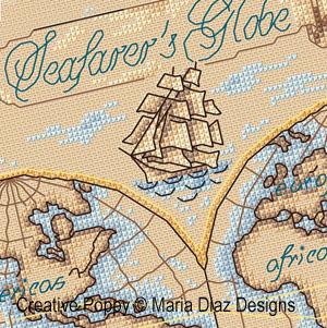 Carte nautique (Globe terrestre) broderie point de croix, création Maria Diaz, zoom1