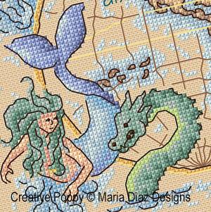 Carte nautique (Globe terrestre) broderie point de croix, création Maria Diaz, zoom3
