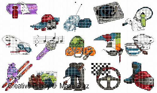 Loisirs, sports, hobbies II (15 motifs), grille de broderie, création Maria Diaz