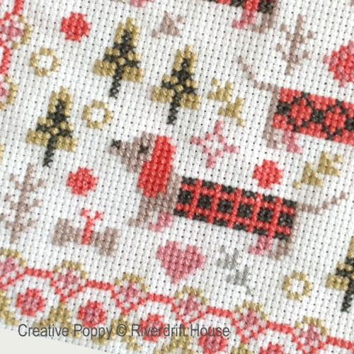 Riverdrift House - Miniature aux longs chiens, zoom 1 (grille de broderie point de croix)