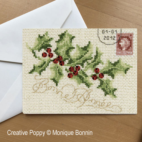 Bonne année au Houx - Carte postale brodée, grille de broderie, création Monique Bonnin