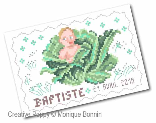 Cartes de naissance brodées - format carte postale, grille de broderie, création Monique Bonnin
