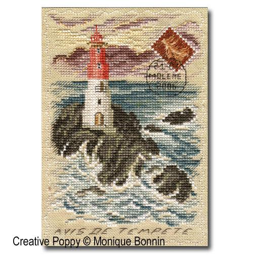 Carte postale brodée: avis de tempête, grille de broderie, création Monique Bonnin