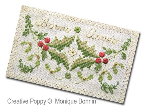 Carte de voeux Bonne Année (feuillages), grille de broderie, création Monique Bonnin