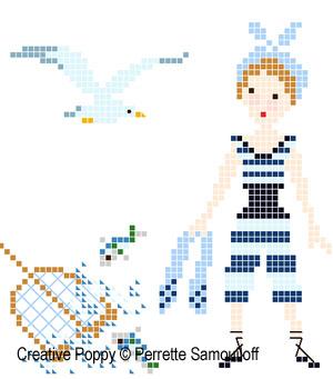 <b>Costumes de bain 1900</b><br>grille point de croix<br>création <b>Perrette Samouiloff</b>