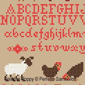Agneaux dans un champ de coquelicots broderie point de croix, création Perrette Samouiloff, zoom2