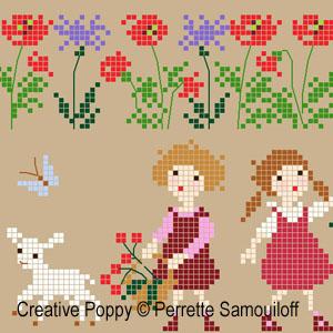 Agneaux dans un champ de coquelicots broderie point de croix, création Perrette Samouiloff, zoom3