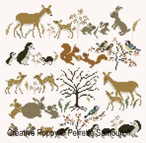 Maman et bébés animaux - hiver GM - grille point de croix - création Perrette Samouiloff