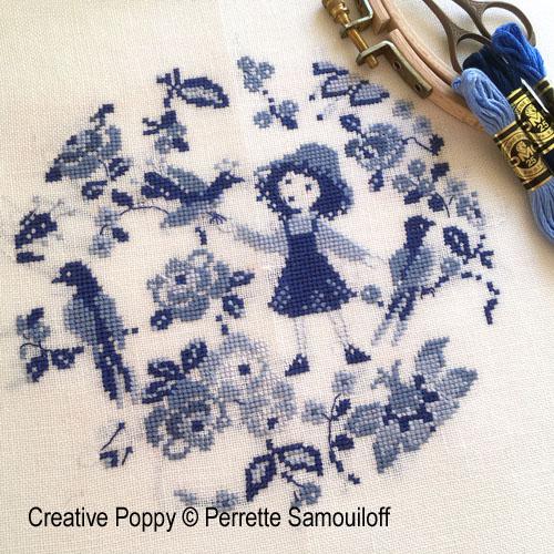 Bleu camaïeu, grille de broderie, création Perrette Samouiloff