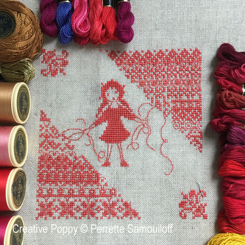 Brodeuse au fil rouge, grille de broderie, création Perrette Samouiloff