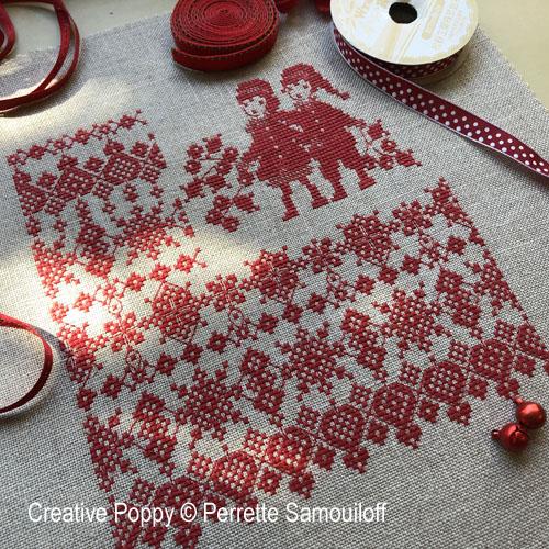 Carré de Noël au houx, grille de broderie, création Perrette Samouiloff