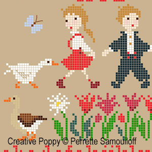 Perrette Samouiloff - Les oies effrontées, zoom 1 (grille de broderie point de croix)