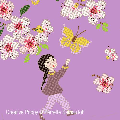 Sous les cerisiers en fleurs, grille de broderie, création Perrette Samouiloff