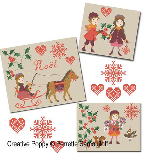 Le Noël des enfants - Trois petites broderies, grille de broderie, création Perrette Samouiloff