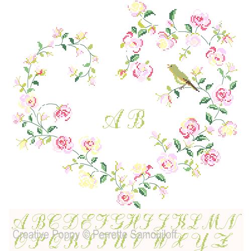Coeur de roses à l'oiseau, grille de broderie, création Perrette Samouiloff