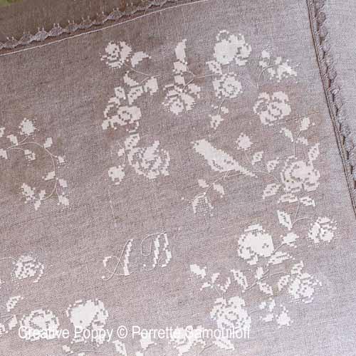 Coeur de roses à l'oiseau - Ecru, grille de broderie, création Perrette Samouiloff