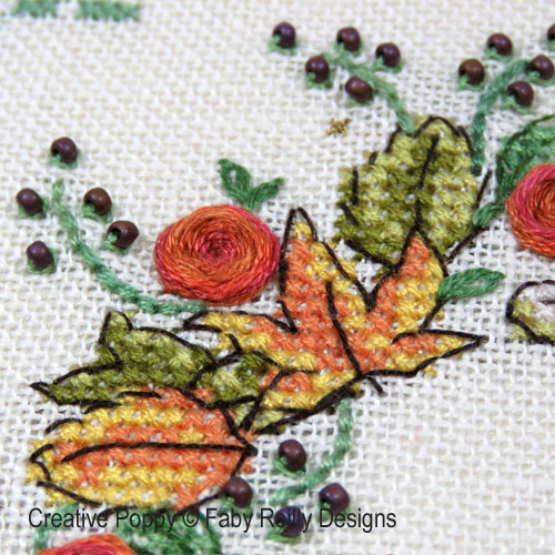 Couronne d'automne, grille de broderie, création Faby Reilly