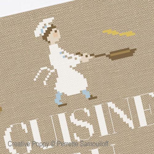 La cuisine du Chef broderie point de croix, création Perrette Samouiloff, zoom3