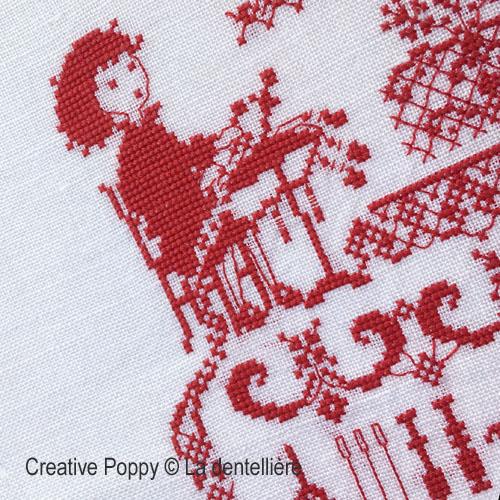 Perrette Samouiloff - La dentellière, zoom 1 (grille de broderie point de croix)