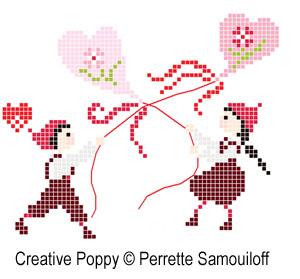 <b>Les petits Amoureux (grand modèle)</b><br>grille point de croix<br>création <b>Perrette Samouiloff</b>