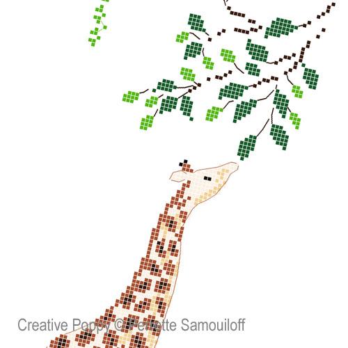 Girafe et bébé singe, grille de broderie, création Perrette Samouiloff