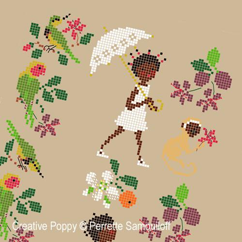 Bonheurs d'enfance: Afrique, grille de broderie, création Perrette Samouiloff