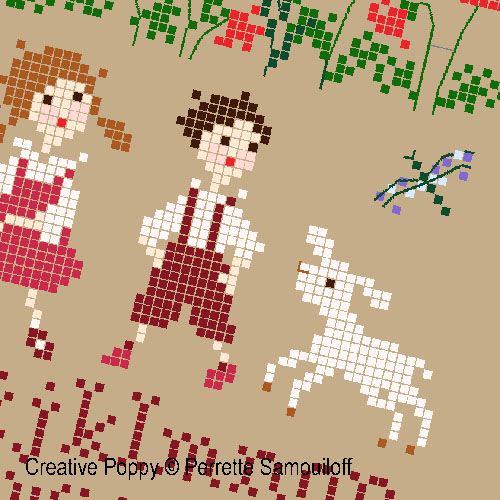 Bonheurs d'enfance - Les moutons (PM), grille de broderie, création Perrette Samouiloff