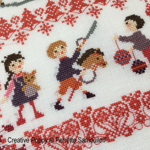 Jouets de Noël, grille de broderie, création Perrette Samouiloff