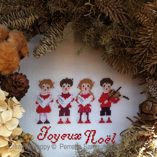 Petits chanteurs de Noël, grille de broderie, création Perrette Samouiloff