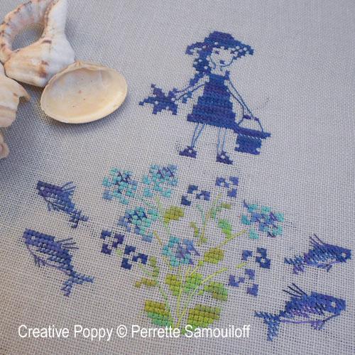Les poissons volants (bannière) broderie point de croix, création Perrette Samouiloff, zoom1
