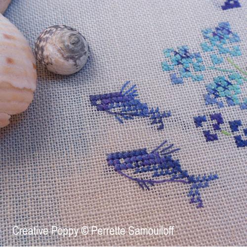 Les poissons volants (bannière), grille de broderie, création Perrette Samouiloff