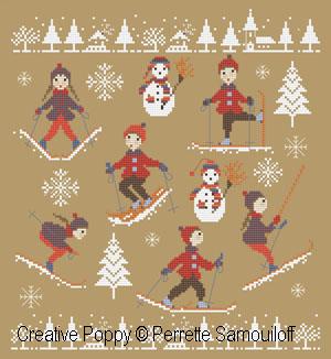 Tout Schuss! (les skieurs), grille de broderie, création Perrette Samouiloff