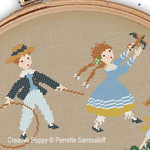 Mode victorienne - Jeux d'enfants, grille de broderie, création Perrette Samouiloff