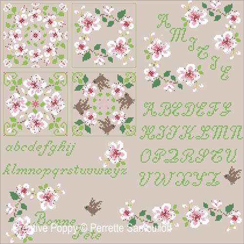 Motifs Fleurs de cerisier, grille de broderie, création Perrette Samouiloff