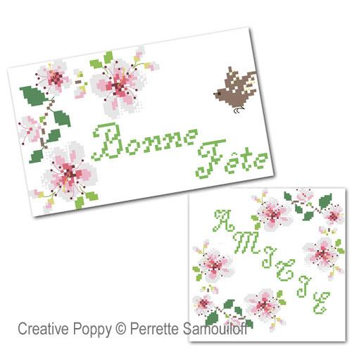 Motifs Fleurs de cerisier broderie point de croix, création Perrette Samouiloff, zoom3