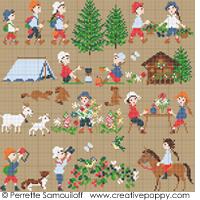 Bonheurs d'enfance, à la montagne GM - grille point de croix - création Perrette Samouiloff