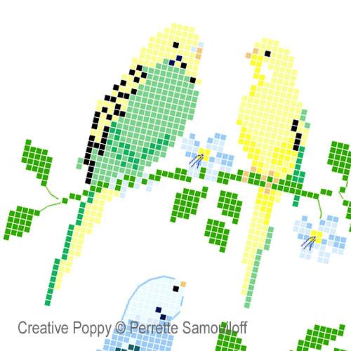Perrette Samouiloff - Perruches, zoom 1 (grille de broderie point de croix)
