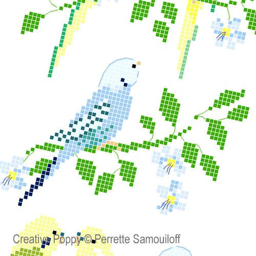 Perruches, grille de broderie, création Perrette Samouiloff