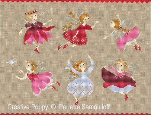 Petites fées de Noël, grille de broderie, création Perrette Samouiloff