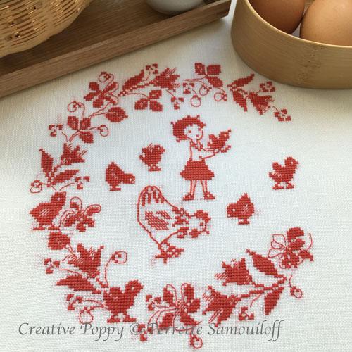 Poule et poussins - rouge, grille de broderie, création Perrette Samouiloff