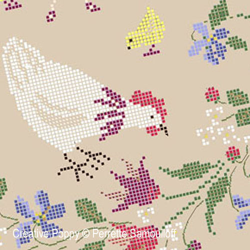 Poules et Poussins, grille de broderie, création Perrette Samouiloff