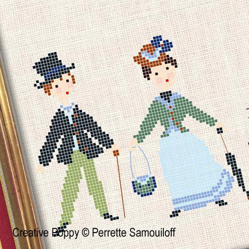 Perrette Samouiloff - Promenade au parc - années 1900, zoom 1 (grille de broderie point de croix)