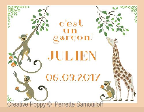 Perrette Samouiloff - C'est un garçon! Tableau de naissance (grille de broderie point de croix)