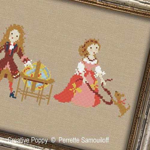 La vie de château - La cour du temps de Mme de Montespan, grille de broderie, création Perrette Samouiloff